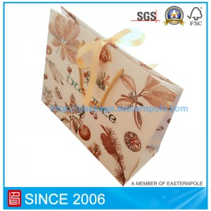 Luxury paper bag for candle packing with ribbon closure